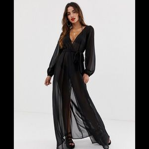 Asos Women's Recycled Long Sleeve Wrap Tie Chiffon